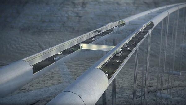 Projet de tunnel et pont routier flottant. Norvège